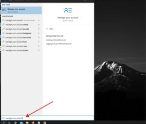 Account Settings section on windows