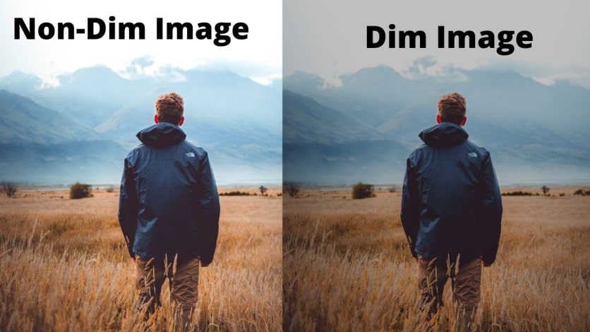 Dim images vs non dim images on monitor screen