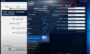 Intel Control panel Screen Hotkeys settings