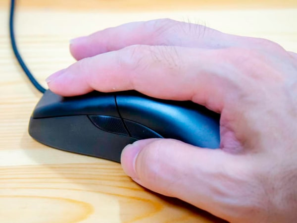 Mouse fits firmly in palm.